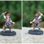 Painted Scanlan Shorthalt Miniature Front and Back from the Critical Role Kickstarter by Steamforged